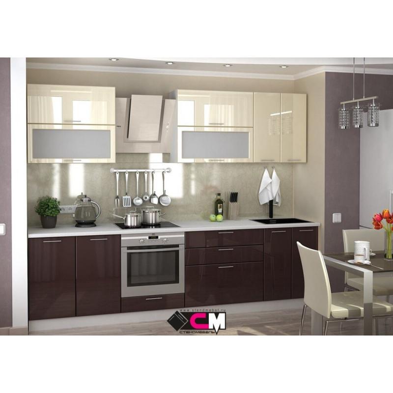 Кухня Ксения МДФ Шоколад глянец (Модульная серия)